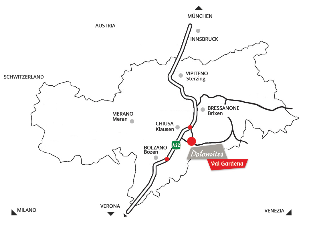 Location and how to reach the Tubla farm in Selva in Val Gardena in